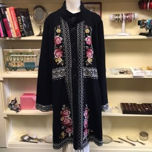 JOHNNY WAS Embroidered Coat